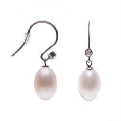 perlové náušnice se zirkony nerezová ocel