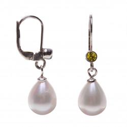 perlové náušnice s peridoty