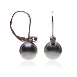 zlaté náušnice s černými diamanty a perlami