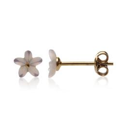 zlacené stříbrné náušnice perleťové květinky