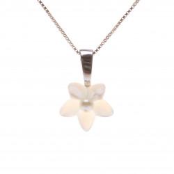 perleťový přívěsek stříbro květinka