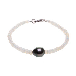 Náramek s opály a tahitskou perlou