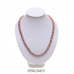 lila perlový náhrdelník - 45 cm