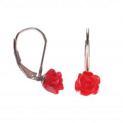 visací stříbrné náušnice s korálem růžičky