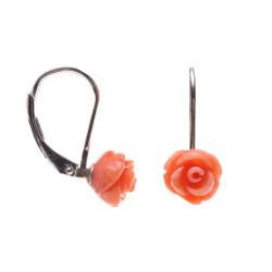 stříbrné náušnice s korálem růže růžové