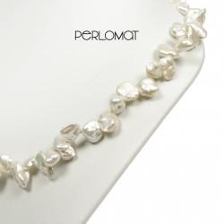 bílý náhrdelník, keshi perly
