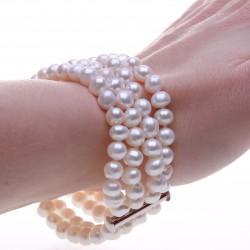 čtyřřadý bílý perlový náramek