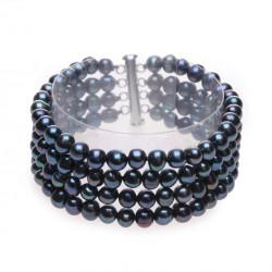 víceřadý černý perlový náramek