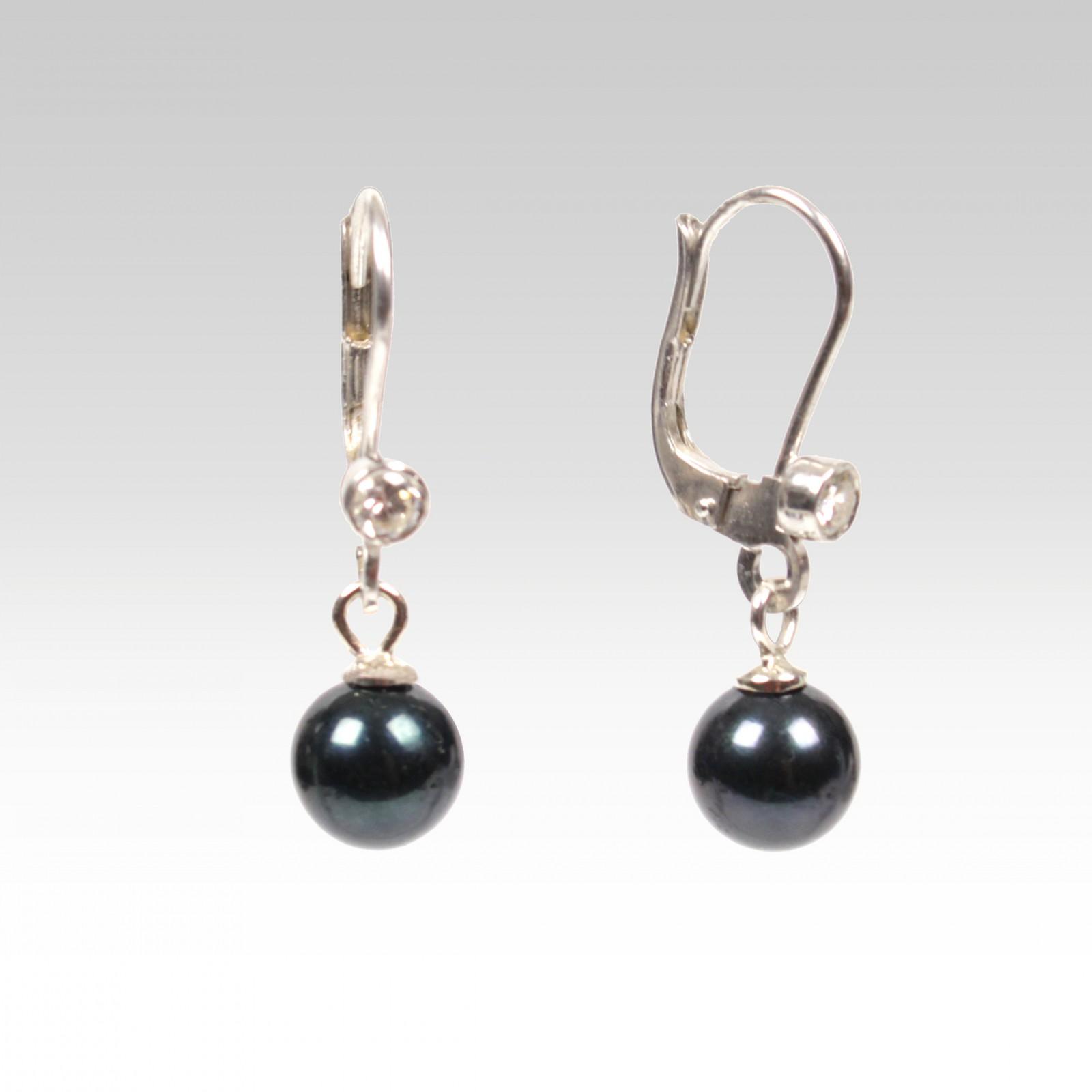 Visací perlové náušnice s perlami Akoya 7mm a zirkony abccf80eaf2