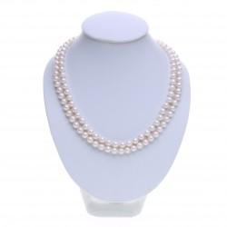 bílý perlový náhrdelník dvouřadý