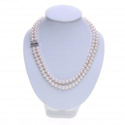 dvouřadý bílý perlový náhrdelník