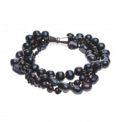 čtyřřadý černý perlový náramek