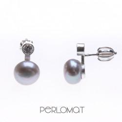 perlové náušnice se zirkony na šroubek