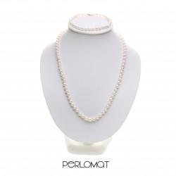 perlová souprava, perly 5 mm, 42+18 cm