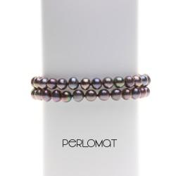 černý perlový náramek dvouřadý