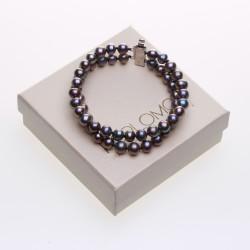 černý dvouřadý perlový náramek