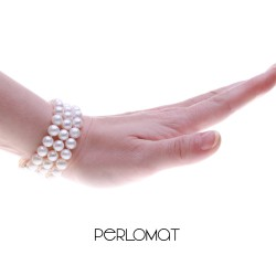 trojřadý perlový náramek bílý - 7 mm