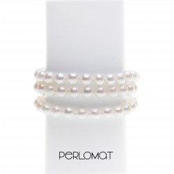 trojřadý perlový náramek - bílý