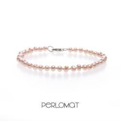 růžový perlový náramek