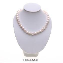 bílý perlový náhrdelník 10mm, 39,5 cm