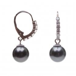 náušnice s brilianty a tahitskými perlami