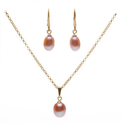 stříbrný perlový set růžové perly