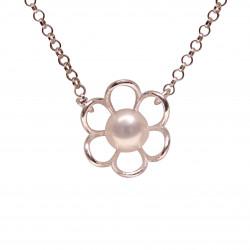 perlová květinka na řetízku