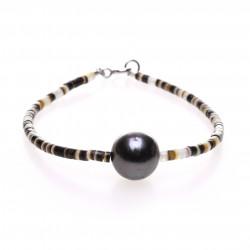 náramek s tahitskou perlou a mušlovinou
