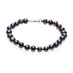 černý perlový náramek stříbro